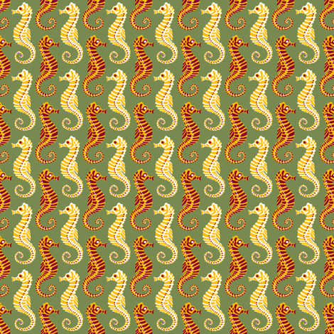 Seahorses - Olive fabric by siya on Spoonflower - custom fabric