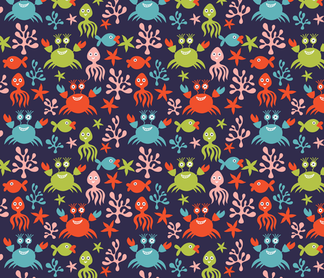 sea pattern fabric by inbirdhouse on Spoonflower - custom fabric