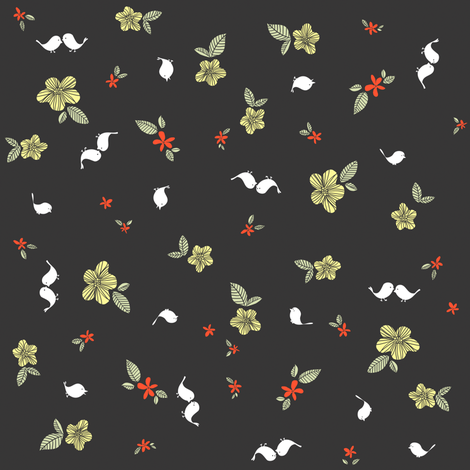 Floral with Birdies fabric by sheena_hisiro on Spoonflower - custom fabric