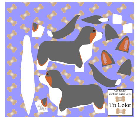 ©2012 Cut & Sew large Cardigan Welsh Corgi - Tri fabric by rusticcorgi on Spoonflower - custom fabric