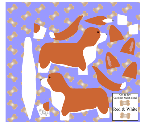 ©2012 Cut & Sew large Cardigan Welsh Corgi - Red/White fabric by rusticcorgi on Spoonflower - custom fabric