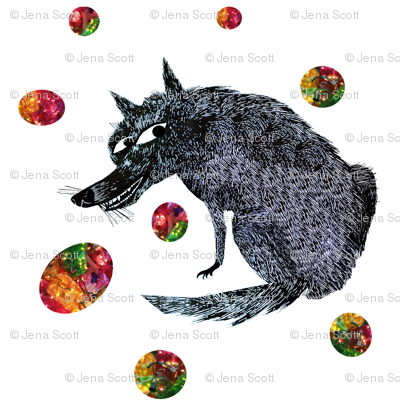 Blue Wolf with Colorful Orbs