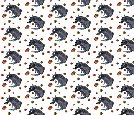 Blue Wolf with Colorful Orbs  fabric by supermoxie on Spoonflower - custom fabric