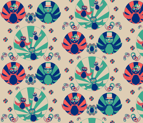 Art Deco Owls fabric by jubilli on Spoonflower - custom fabric