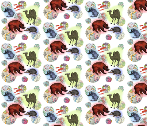 Animals and Maps fabric by supermoxie on Spoonflower - custom fabric