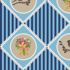 Flower and bird quilt (blue and beige)