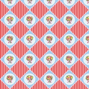 Flower quilt (Blue and red)