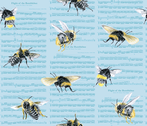 flight of the bumblebee - large blue fabric by weavingmajor on Spoonflower - custom fabric