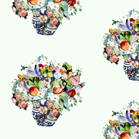 Elizabeth Wu's Flowers on White fabric by karenharveycox on Spoonflower - custom fabric