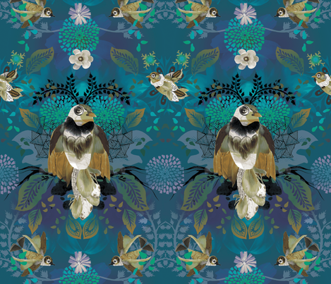 Blissful Birds fabric by milliondollardesign on Spoonflower - custom fabric