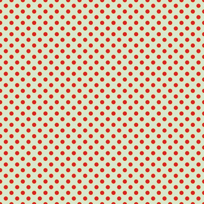 Light Blue with Red Dots - Vintage
