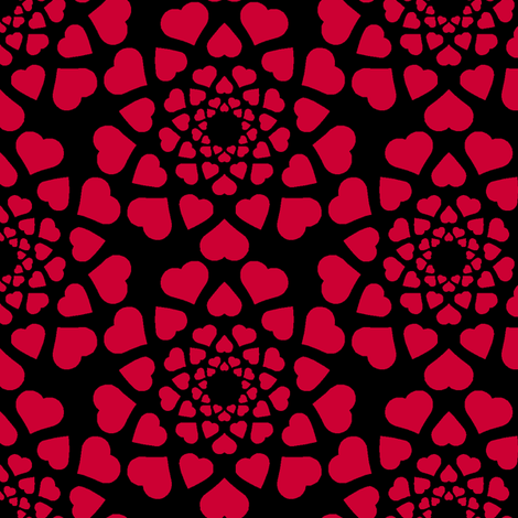 love is all around (dark) fabric by sef on Spoonflower - custom fabric