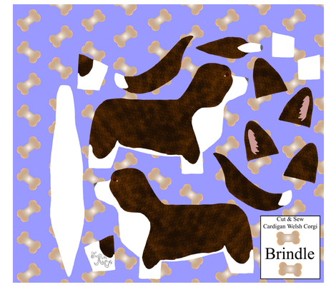 ©2012 Cut & Sew large Cardigan Welsh Corgi - Brindle fabric by rusticcorgi on Spoonflower - custom fabric