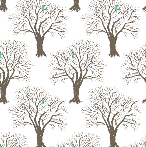 Owl Forest - White fabric by einekleinedesignstudio on Spoonflower - custom fabric