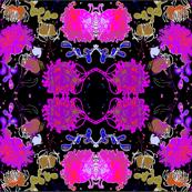 Country Garden - Hot Pink on Midnight Black