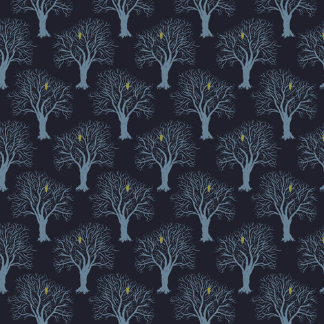 Owl Forest - Blue fabric by einekleinedesignstudio on Spoonflower - custom fabric