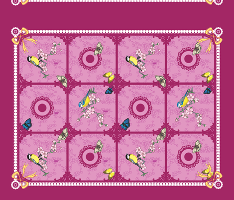 Birds and butterfly tea towel (Purple and pink) fabric by nimochka on Spoonflower - custom fabric