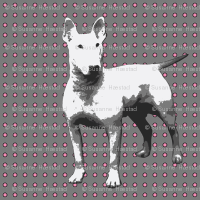 white dog on grey,pink dots