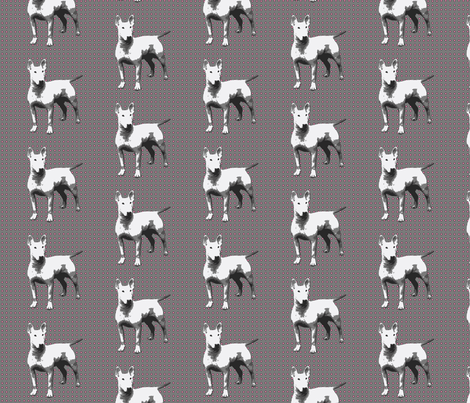 white dog on grey,pink dots fabric by susiprint on Spoonflower - custom fabric