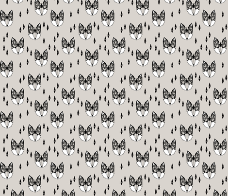 Geometric Fox Head - Greys (Smaller) fabric by andrea_lauren on Spoonflower - custom fabric