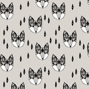 fox head // light grey fox head geometric design boys kids fox head fabric fox head quilt cute fox design original andrea lauren fabric