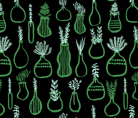 Herb Garden - // green and mint herbs kitchen garden cute plants pots fabric by andrea_lauren on Spoonflower - custom fabric