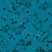 Animal Constellations - Medium Blue Inverse