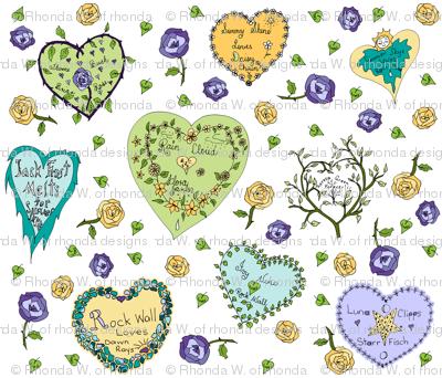 Art Thou Mine? (Girly Graffiti Hearts Valentine Notes)