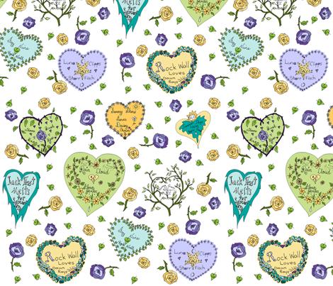 Art Thou Mine? (Girly Graffiti Hearts Valentine Notes) fabric by rhondadesigns on Spoonflower - custom fabric