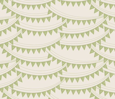 Bunting_banner_GREEN fabric by natasha_k_ on Spoonflower - custom fabric