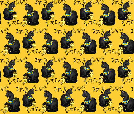 RETRO EGYPTIAN CAT GODDESS fabric by bluevelvet on Spoonflower - custom fabric