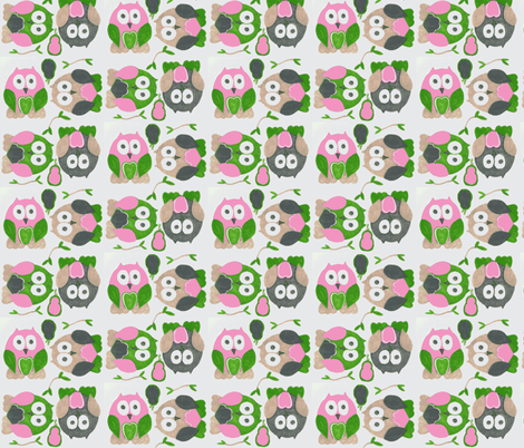 Short Legged Owls in Pink fabric by kbexquisites on Spoonflower - custom fabric