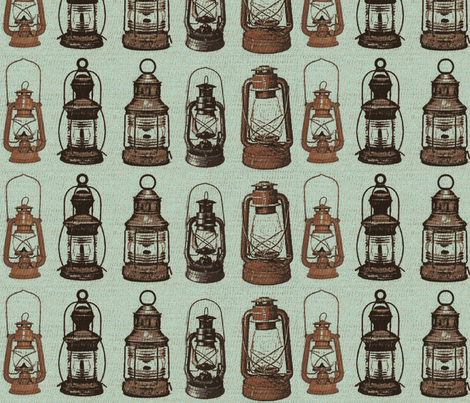 Lanterns on Burlap fabric by retrofiedshop on Spoonflower - custom fabric