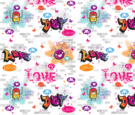 Love Bot Graffiti Love fabric by crissyrose on Spoonflower - custom fabric