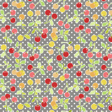 cherry dot grey fabric by katarina on Spoonflower - custom fabric