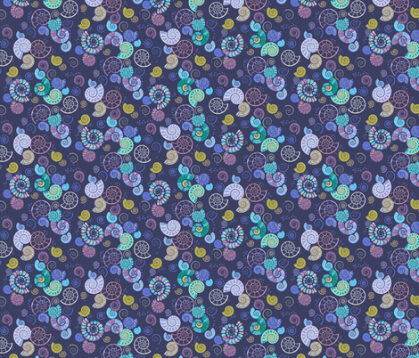 mineralised mesozoic mariners: an ammonite ditsy print fabric by coggon_(roz_robinson) on Spoonflower - custom fabric
