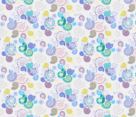 Ammonites pale fabric by coggon_(roz_robinson) on Spoonflower - custom fabric