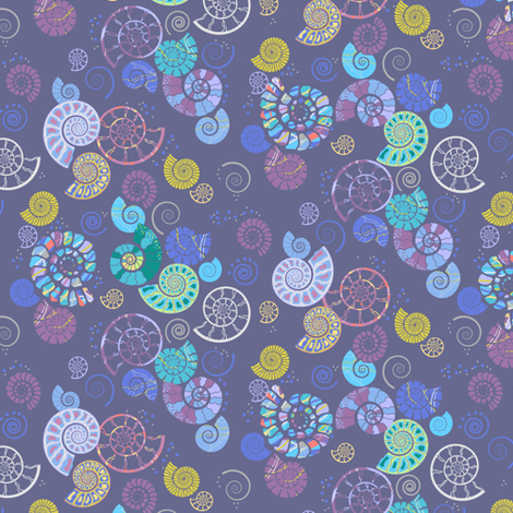 Ammonite ditsy grey fabric by coggon_(roz_robinson) on Spoonflower - custom fabric