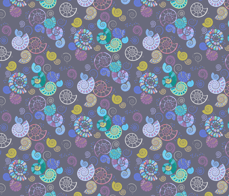 ammonites grey fabric by coggon_(roz_robinson) on Spoonflower - custom fabric