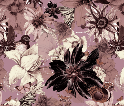 Flora Fauna Pink fabric by milliondollardesign on Spoonflower - custom fabric