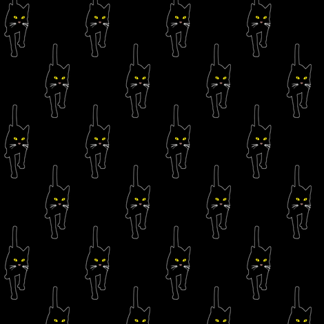 Black Cat 2, S fabric by animotaxis on Spoonflower - custom fabric
