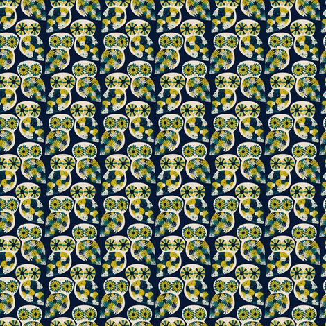Jane Owls - Blue fabric by einekleinedesignstudio on Spoonflower - custom fabric