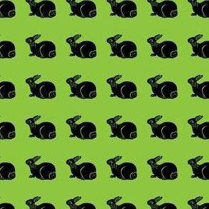 cute bunny black on bright green