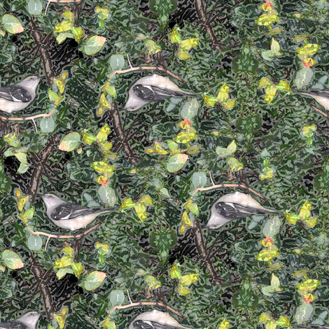 Mockingbird on Hedge fabric by eclectic_house on Spoonflower - custom fabric