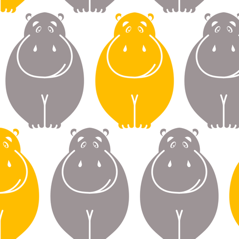 Holli Yellow Hippos fabric by newmom on Spoonflower - custom fabric