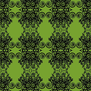 Good Energy Art Green Damask