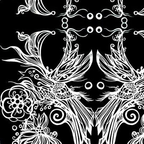 Good Energy Art White Bird on Black  Damask