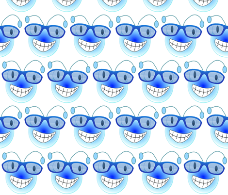 BUGEYE BEE WEARS GLASSES fabric by bluevelvet on Spoonflower - custom fabric