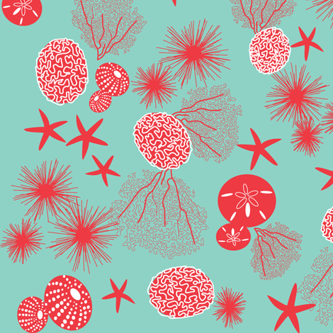 sea creatures - red ditsy fabric by walsh|studio on Spoonflower - custom fabric