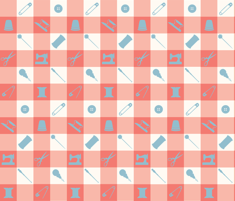 PLAID_SEWING_BLUE fabric by natasha_k_ on Spoonflower - custom fabric